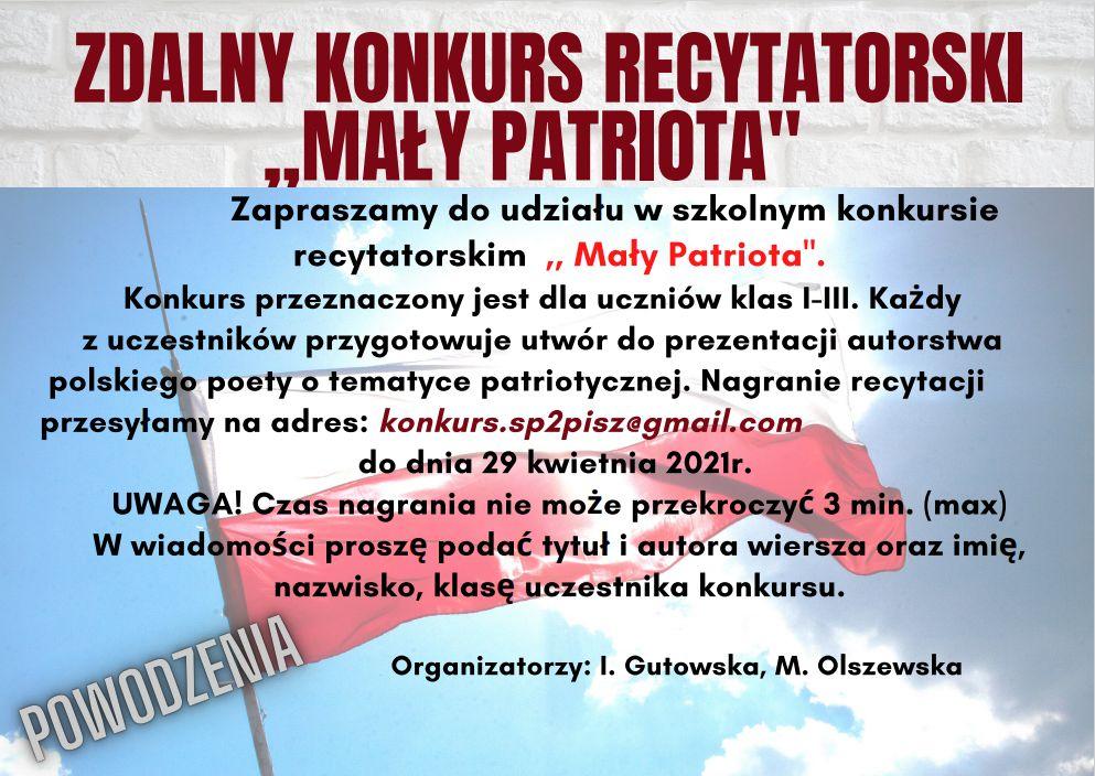 """ZDALNY KONKURS RECYTATORSKI ,,MAŁY PATRIOTA"""""""